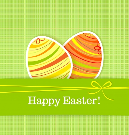 Easter eggs on green seamless linen background