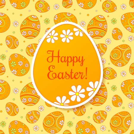Easter card with orange paper egg on ornate background  Second layer - seamless pattern  Vector