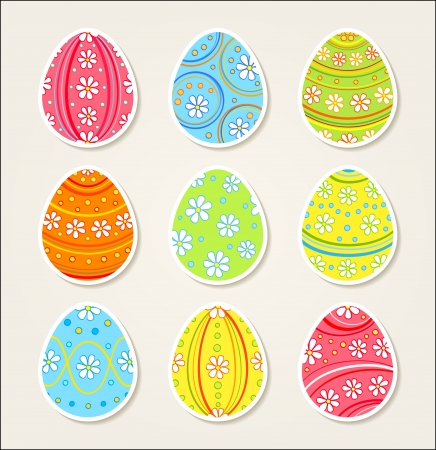 Collection of easter stickers  Ornate eggs  Vector