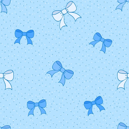Blue seamless pattern with color bows Stock Vector - 17995811