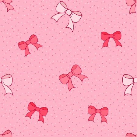 girls with bows: Pink seamless pattern with color bows