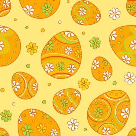 Orange easter seamless pattern with ornate eggs