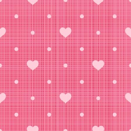 Retro Hearts seamless pattern y puntos en fondo de lino rosa Ilustración de vector