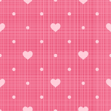 linen texture: Retro seamless pattern  Hearts and dots on pink linen background Illustration