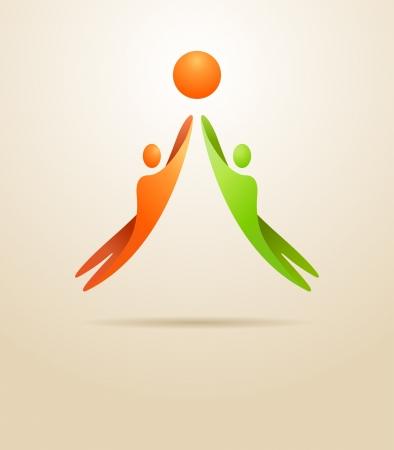work together: Twee mensen bereiken van de doelstelling Business concept