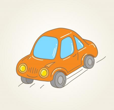 toy car: Retro hand drawn orange car, vector illustration