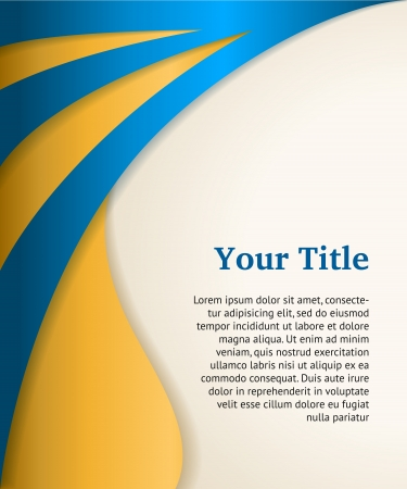 booklet: Blue and gold business background, modern vector template Illustration