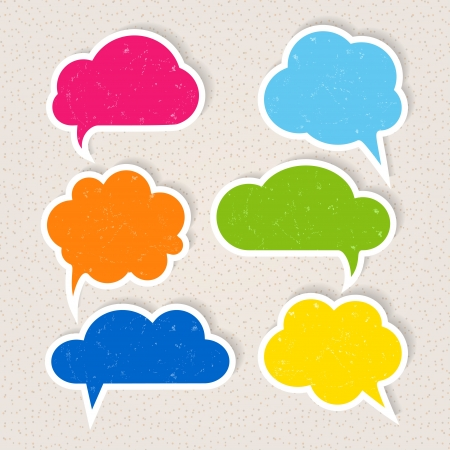 frayed: Set of colorful frayed speech bubbles