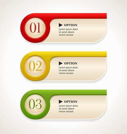 numero uno: Horizontal opciones coloridas banderas botones plantilla Ilustraci�n vectorial