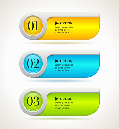 number button: Shine horizontal colorful options banners buttons template  Vector illustration