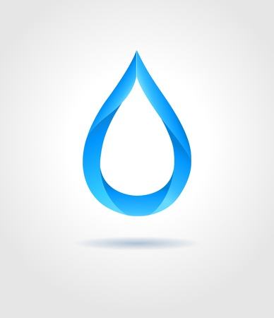 water drops: Abstract blue water drop on gray background  Vector creative concept