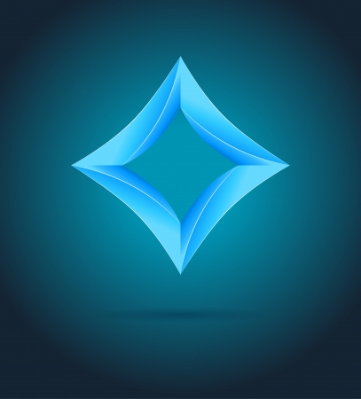 Abstract business design template  Shine blue 3d rhombus on dark background  Vector icon with place for your text Stock Vector - 18243211