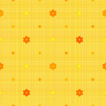 Orange seamless pattern with polka dots and flowers Vector