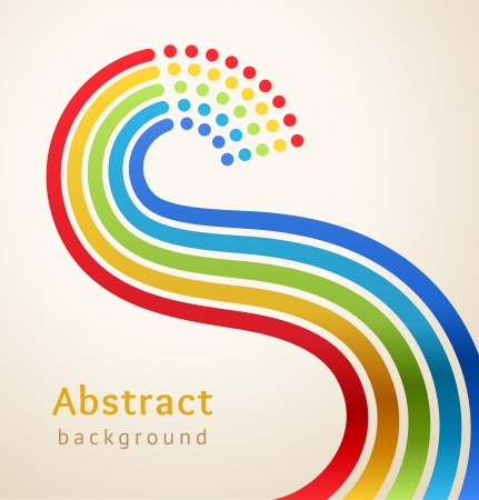 rainbow stripe: Curved colored stripes with circles,  Design template  Illustration