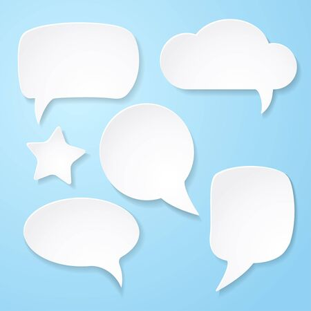 Set of white paper speech bubbles on blue background   abstract illustration Vector