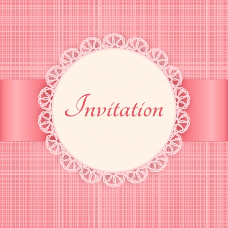 knitted fabrics:  lace frame on pink seamless textile background  Vintage invitation card