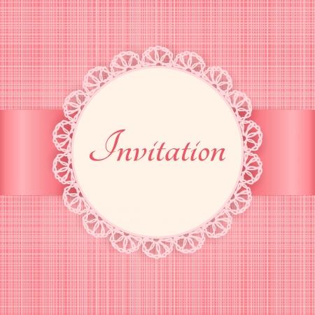 lace frame op roze naadloze textiel achtergrond Uitstekende uitnodigingskaart