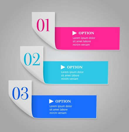 Modern numbered options banners  Bended stripes on dark background   illustration  Vector