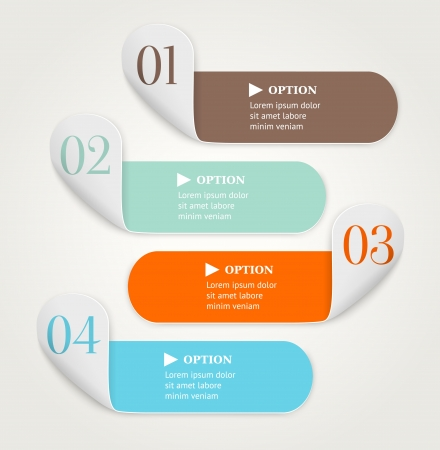Modern numbered option banners  Bended stripes on light background   illustration