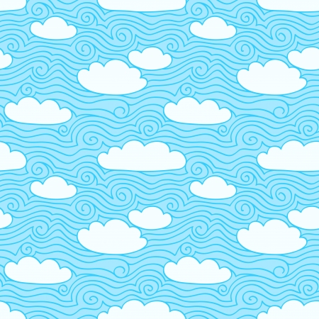 Blue sky with white clouds  Seamless pattern  Hand drawn illustration with swirls Vector