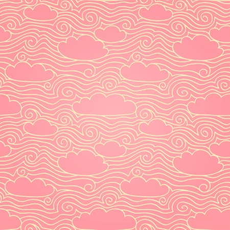pink sky: Sky with clouds  Pink seamless pattern  Hand drawn illustration with swirls Illustration