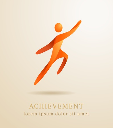 achieve goal: Business concept  Abstract human  Success achievement template Illustration