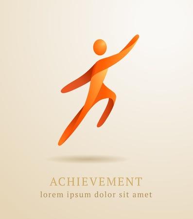 hombres corriendo: Concepto de negocio abstracto �xito humano logro plantilla Vectores
