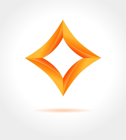 rhombus: Abstract business design template  Shine orange 3d rhombus on gray background   icon with place for your text