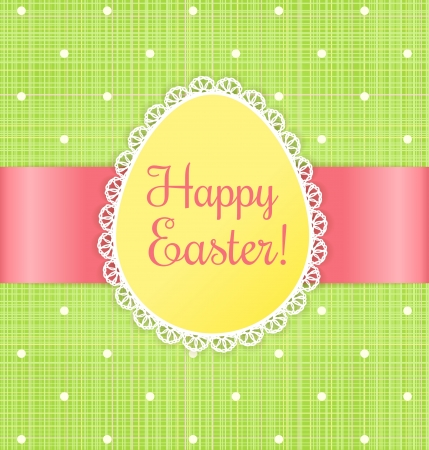 Retro Pascua etiqueta de la tarjeta con el cordón en fondo verde con lunares textil