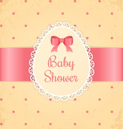 Baby shower for girl  Lace label and bow on beige grunge background  Vector