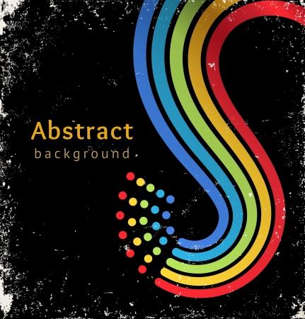 Grunge retro zwarte achtergrond met kleur strepen en stippen Stock Illustratie