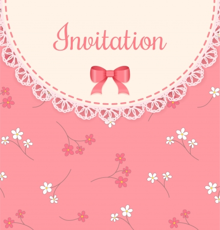lace frame with bow on pink floral background  Vintage invitation card