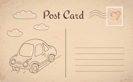 Vintage briefkaart met auto en wolken
