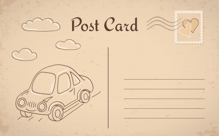 postcard template: Vintage postcard with car and clouds Illustration