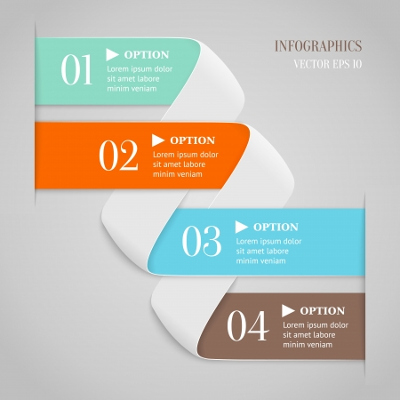 web menu: Colored bended lines with numbers on gray background  Trendy origami style options banner  Can be used for numbered options, web design, infographics  Illustration