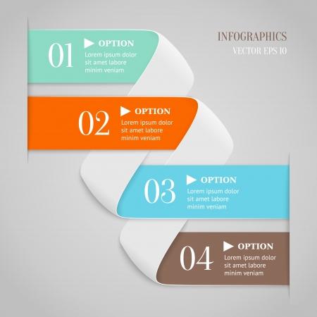 Gekleurde gebogen lijnen met nummers op grijze achtergrond Trendy origami stijl opties banner Kan gebruikt worden voor genummerde opties, web design, infographics