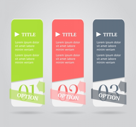 Modern option banners  Numbered banner with transparent origami arrow on gray background illustration  Vector