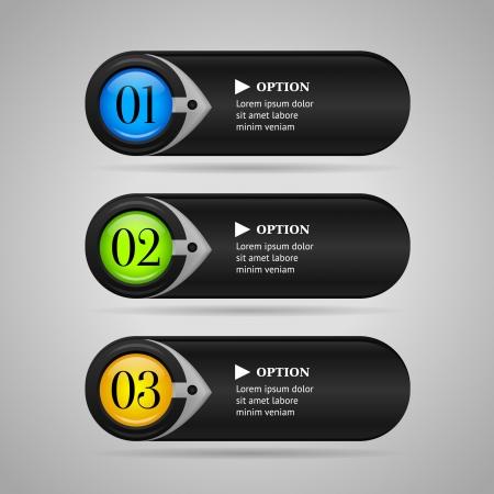 Zwarte horizontale kleurrijke opties banners knoppen met pijl Vector sjabloon
