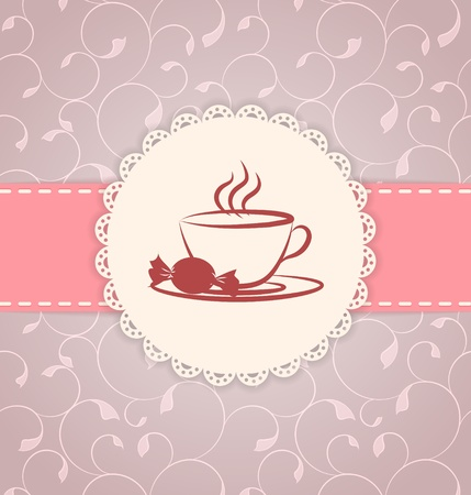 tea party: Vintage applique card   background  Label with cup and candy on floral pink background