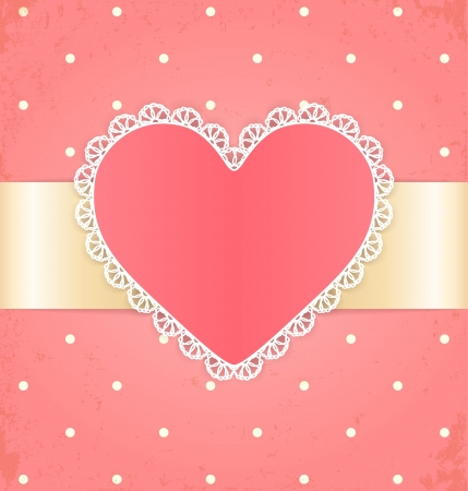 Invitation or greeting card with heart  Lace label and ribbon on pink grunge background  Vector
