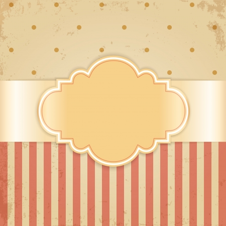 Golden vintage card  Glossy label on beige grunge background  矢量图像