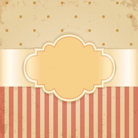 beige stof: Gouden vintage kaart Glossy label op beige grunge achtergrond Stock Illustratie