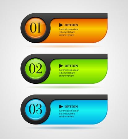 Shine horizontale kleurrijke opties banners knoppen template afbeelding