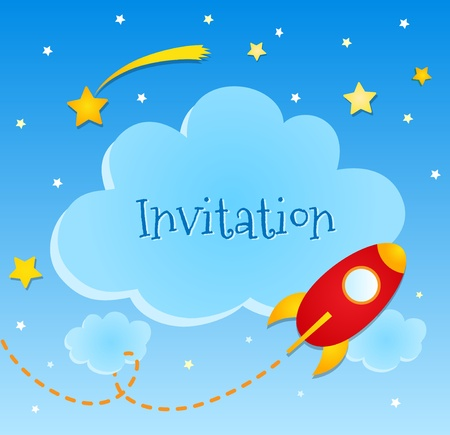 Blue invitation card with clouds and spaceship stickers  Vector