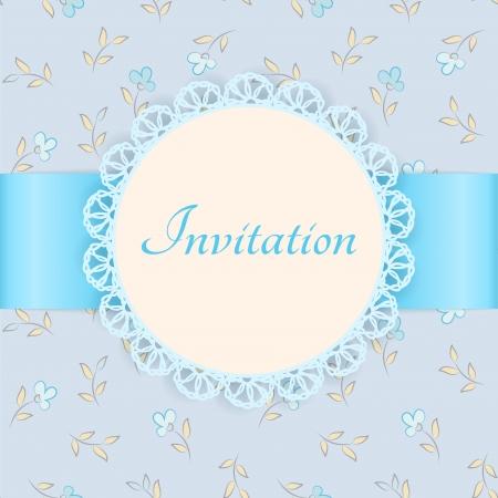 lace frame met blauw lint op bloemen achtergrond Vintage uitnodigingskaart Floral achtergrond - naadloos patroon Stock Illustratie