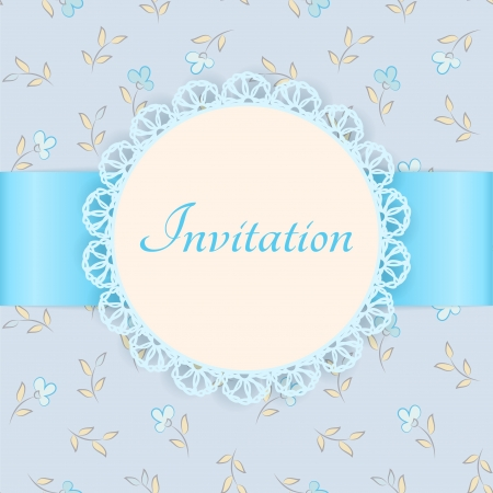 invitation card: lace frame with blue ribbon on floral background  Vintage invitation card  Floral background - seamless pattern