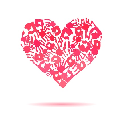 Pink heart made of the handprints  Vector