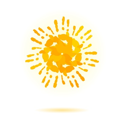 peace stamp: Sun made of handprint  Vector concept for your design  Illustration