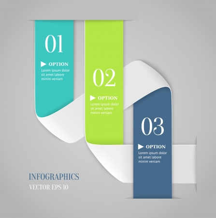 clean cut: Colored bended lines with numbers on gray background  Trendy origami style options banner  Can be used for numbered options, web design, infographics  Illustration
