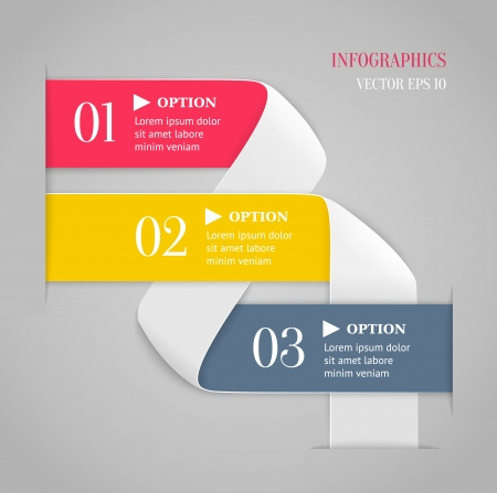 bended: Colored bended lines with numbers on gray background  Trendy origami style options banner  Can be used for numbered options, web design, infographics  Illustration
